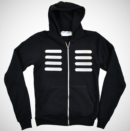 Fabric Stripped 4 Line Hoodie (Black/White)