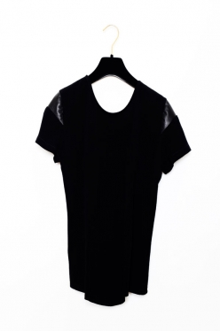 Olivia Crepe Tee with Leather Sleeve Insert