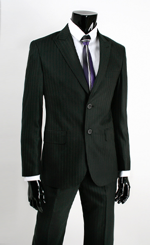 SLIM FIT Black Stripe 2-Button Mens Suit - Je Je Homme