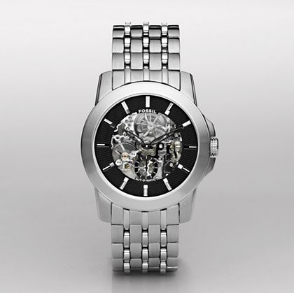 Skeleton Black Dial Watch - FOSSIL