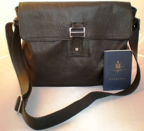 Men's Italian Soft Leather Messenger Bag -Satchel Black - KODI Design