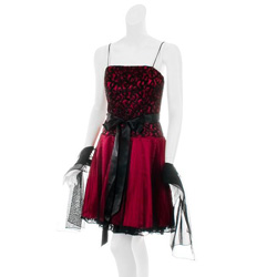 Aspeed Women's Red/ Black Pleated Skirt Party Dress - Overstock.com
