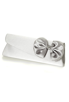 Satin Clutch Slope Flat With Bow And Rhinestone Buckle - Jessica McClintock